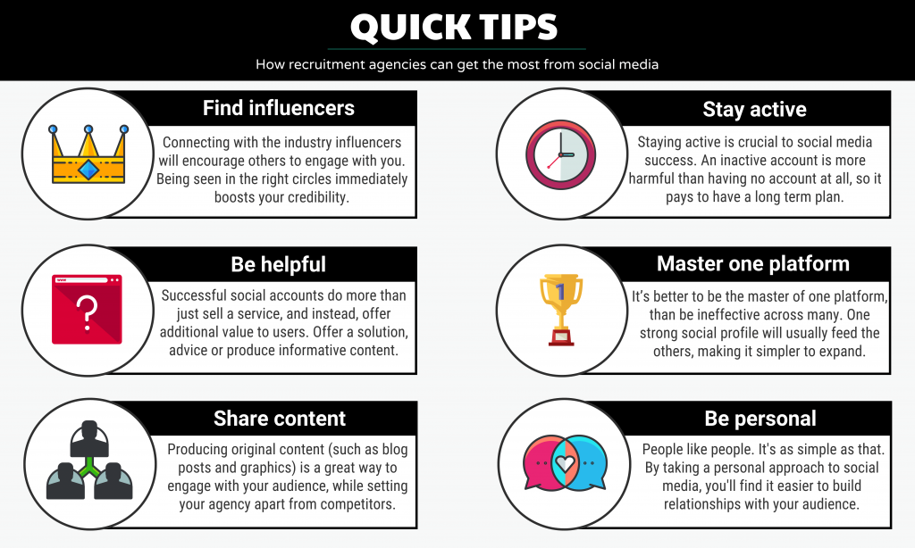 Infographic featuring tips for recruiters on getting the most out of social media.