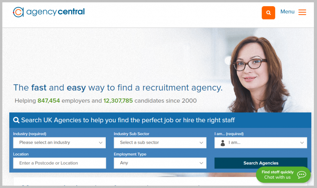The Agency Central homepage as it appears today.